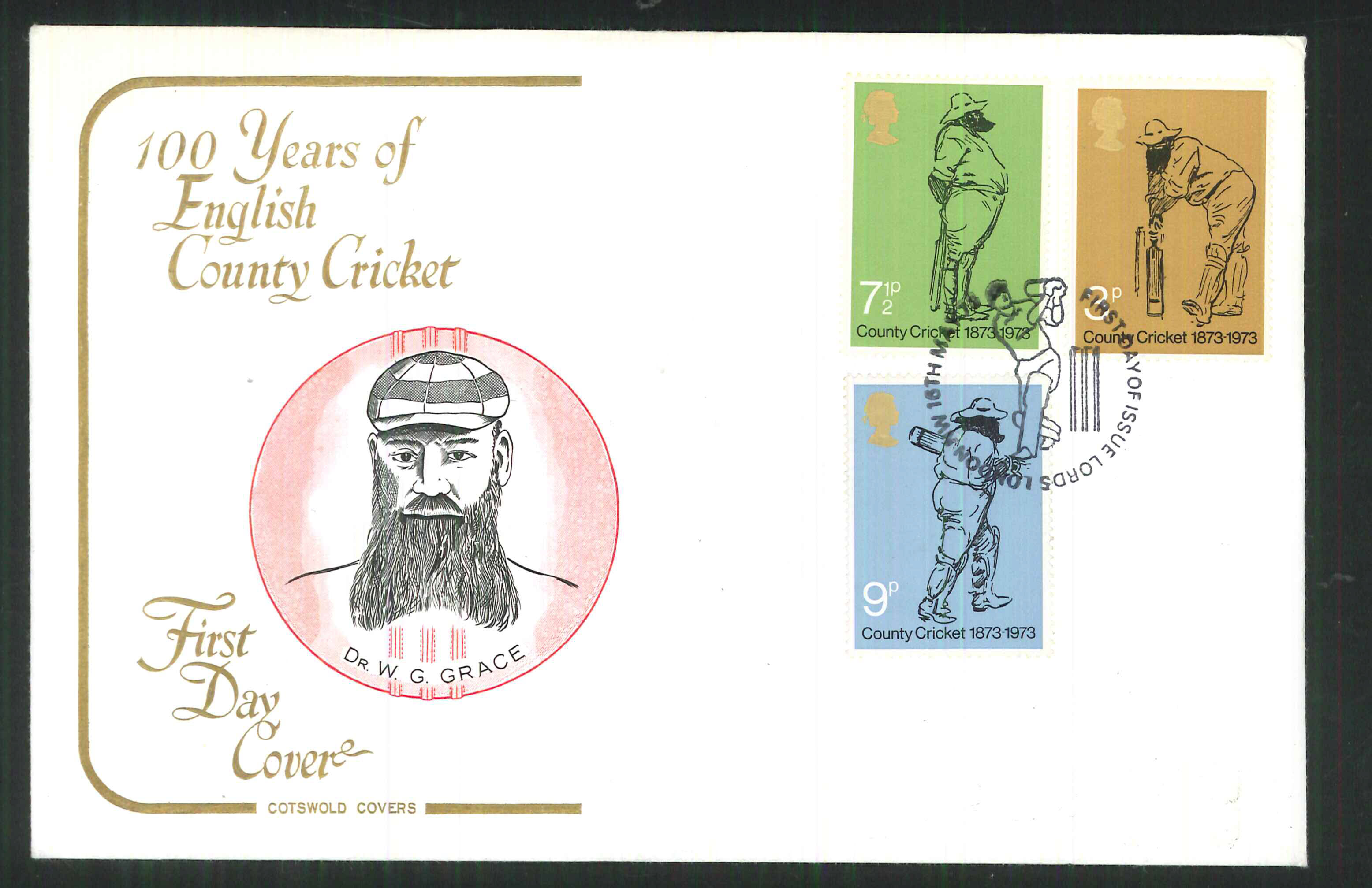 1973 Cotswold Cricket FDC F D I Lords London Handstamp