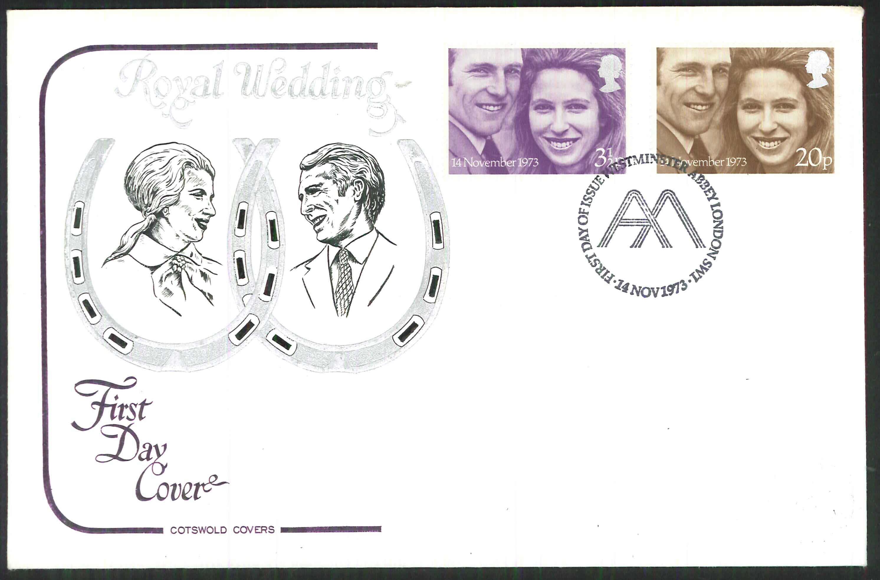 1973 Cotswold Royal Wedding FDC Westminster Abbey Postmark