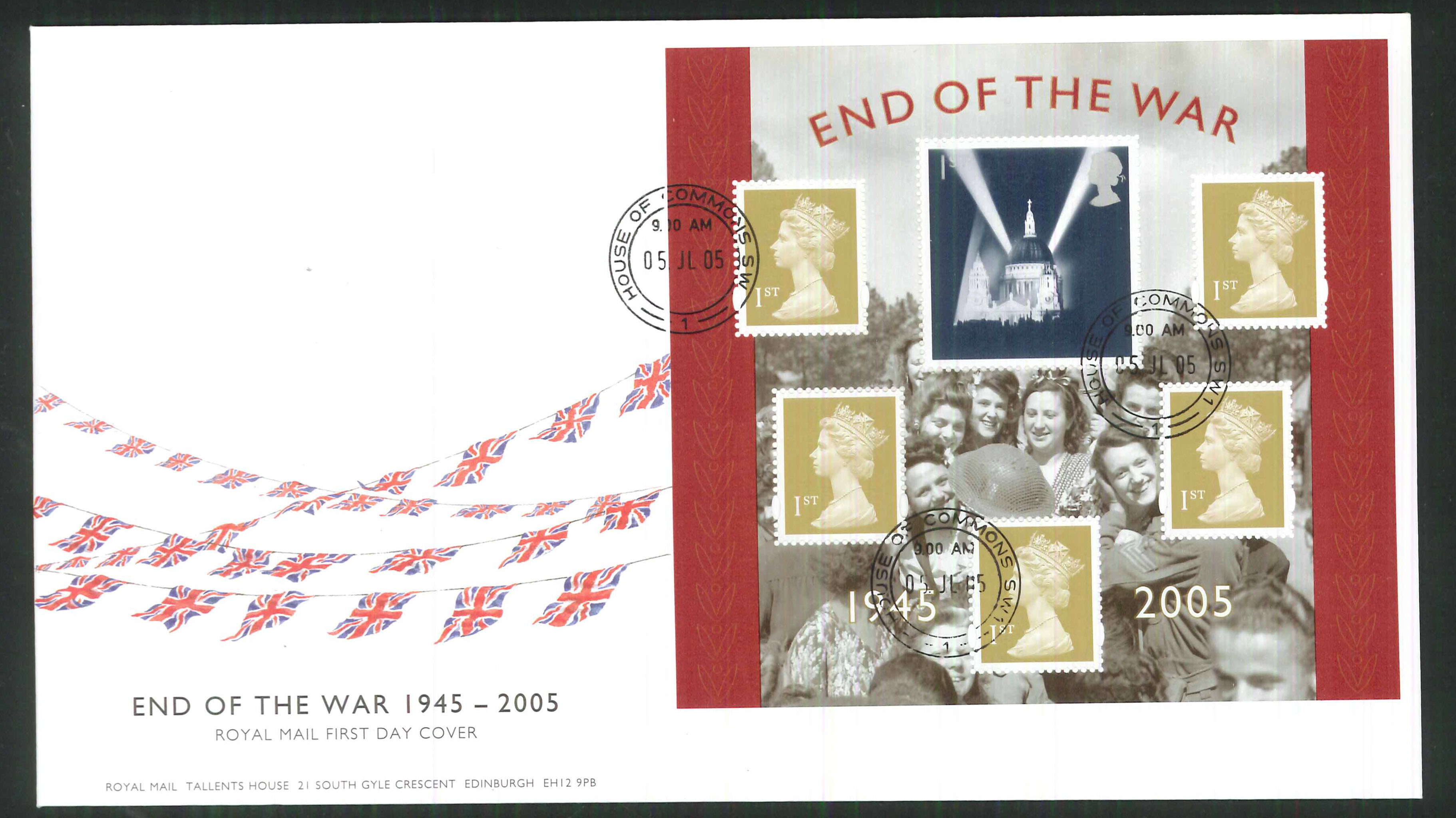2005 End of World War 2 FDC Commons C D S Handstamp