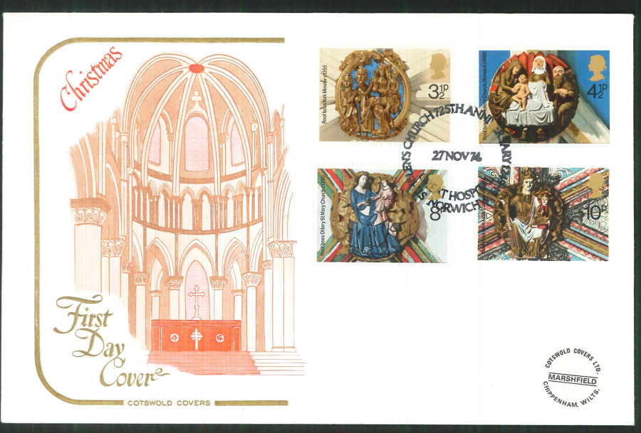 1974 Cotswold Christmas FDC St Helen's Church Norwich Postmark