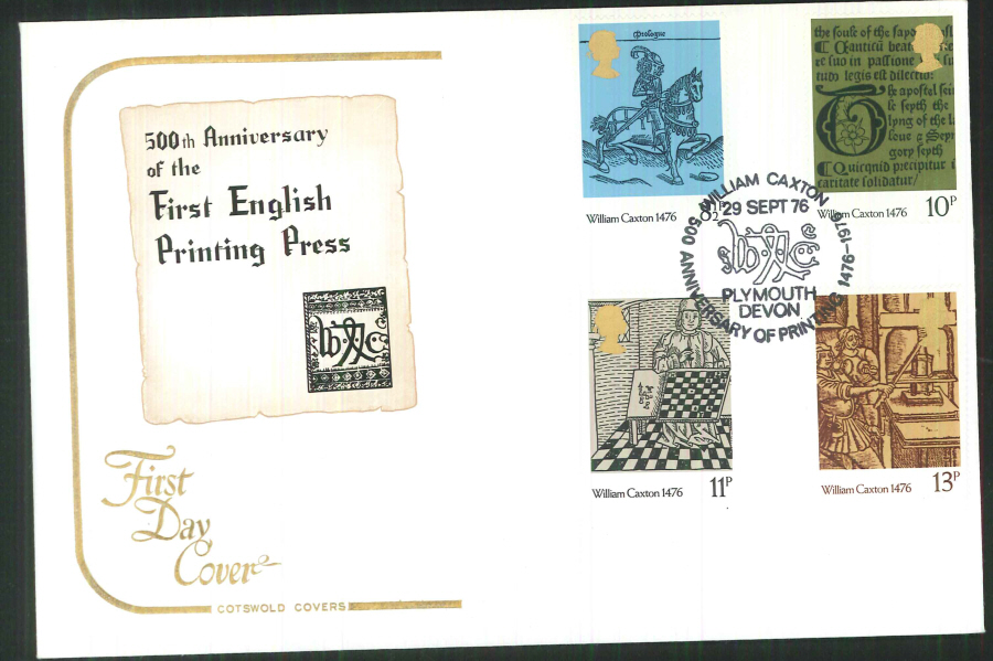 1976 Cotswold Caxton FDC Plymouth Devon Postmark