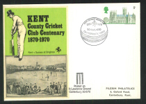 1970 Pilgrim Cricket Cover Kent Cricket Centenary
