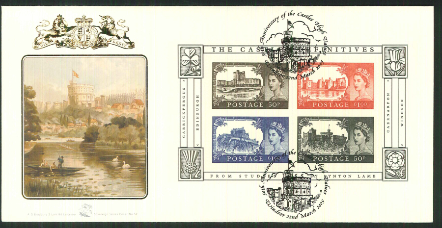 2005 Castle High Values FDC Bradbury ( Sovereign No 52 ) Postmark: Windsor, Windsor Castle