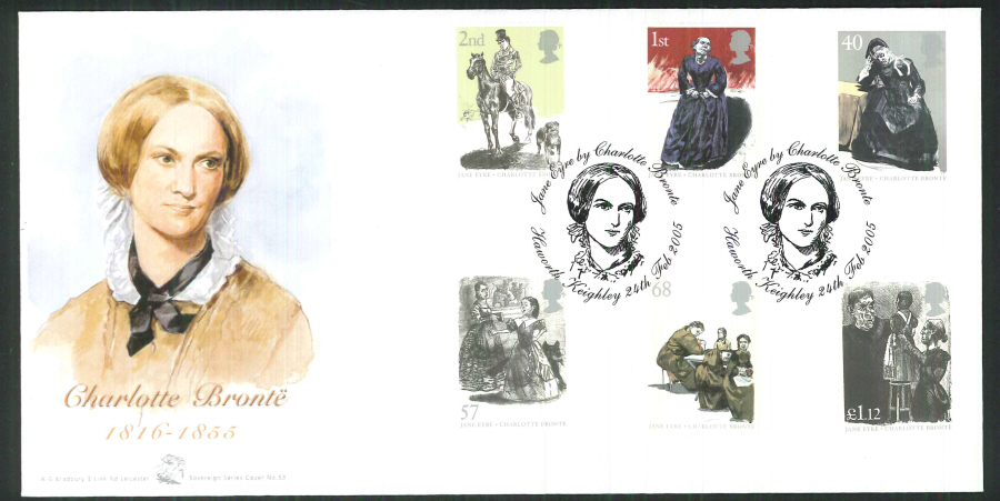 2005 Jane Eyre FDC Bradbury ( Sovereign No 53 ) Postmark: Haworth, Portrait of Charlotte Bronte,