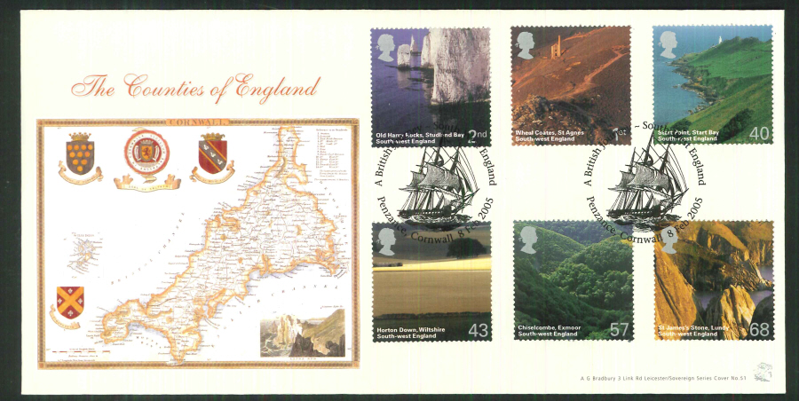 2005 Bradbury ( Sovereign No 51 )South West England Penzance, Special Handstamp