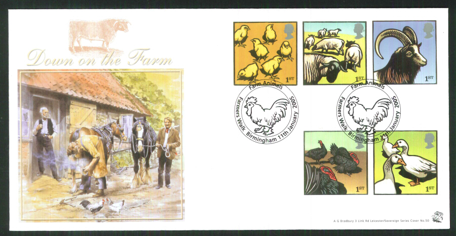 2005 Bradbury ( Sovereign No 50 ) Postmark: Farmers, featuring a chick, Special Handstamp