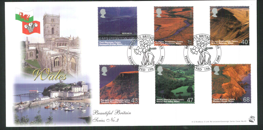 2004 Bradbury ( Sovereign No 43 ) Wales Postmark: Tenby, Daffodils, Special Handstamp