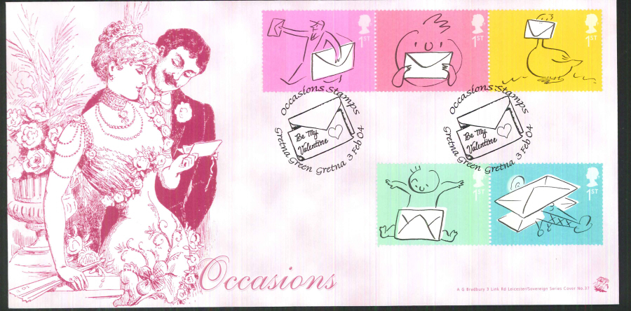 2004 Bradbury ( Sovereign No 31 Occasions - Postmark: Gretna Green, Be My Valentine, Special Handstamp