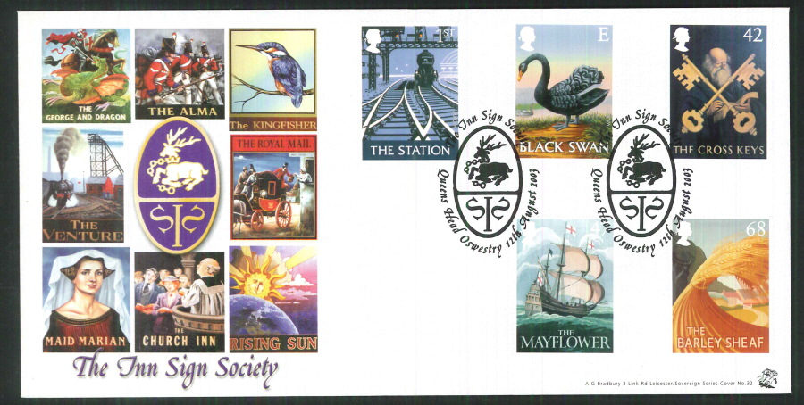 2004 Bradbury ( Sovereign No 32 Pub Signs - Postmark:Queen's Head, the sign of the white hart, Special Handstamp