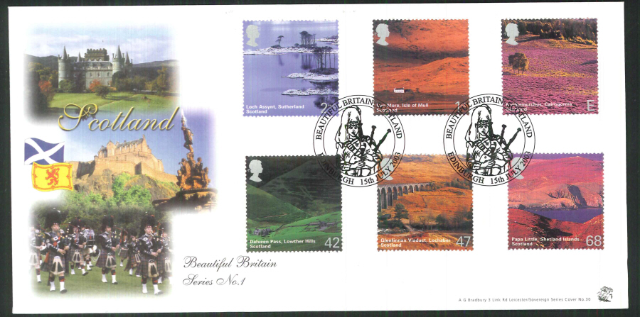 2003 Bradbury ( Sovereign No 30 ) Scotland - A British Journey Postmark: Edinburgh, piper, Special Handstamp