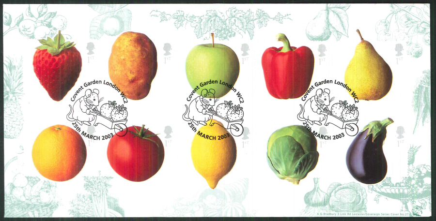 2003 Bradbury ( Sovereign No 27 ) Fun Fruit and Veg Postmark: Covent Garden Special Handstamp
