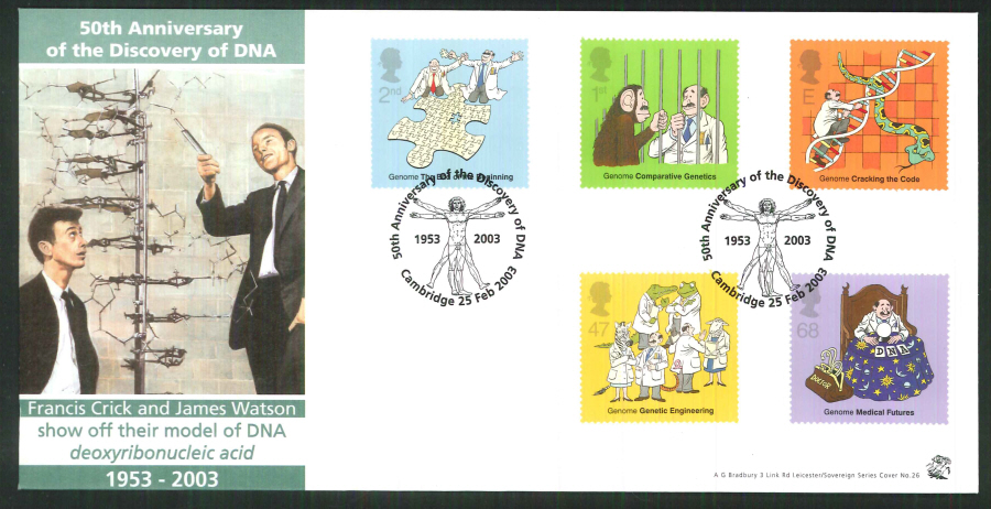 2003 Bradbury ( Sovereign No 26 ) The Secret of Life DNA Postmark: Cambridge Special Handstamp
