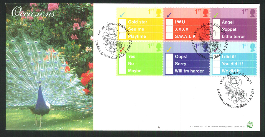 2003 Bradbury ( Sovereign No 25 ) Occasions Postmark: Gretna Green Special Handstamp