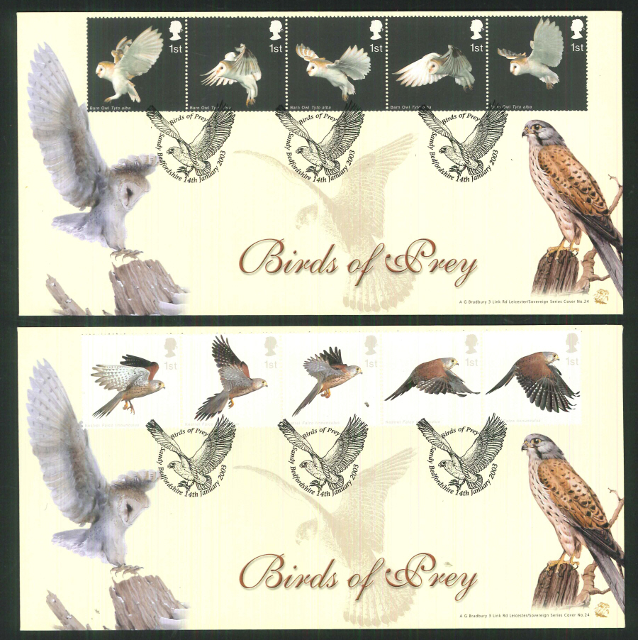2003 Bradbury ( Sovereign No 24 ) Birds of Prey Postmark: Sandy Special Handstamp