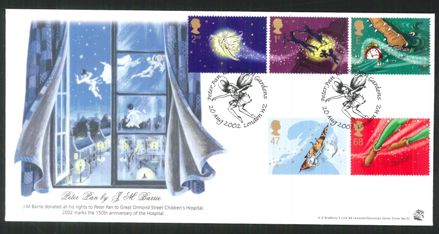 2002 Bradbury ( Sovereign No 22 ) Peter Pan Postmark: Kensington, Tinkerbell, Special Handstamp