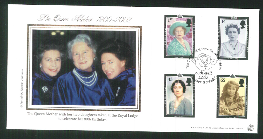2002 Bradbury ( Sovereign No 21 ) The Queen Mother - In Memoriam Postmark: Windsor, Rose, Special Handstamp