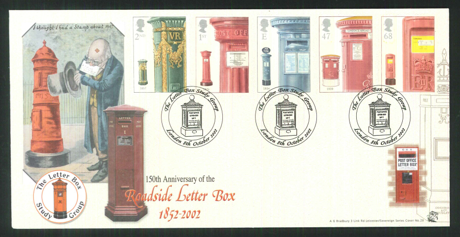 2002 Bradbury ( Sovereign No 20 ) Pillar to Post Postmark: London Special Handstamp