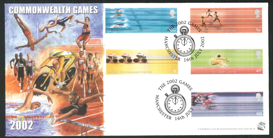 2002 Bradbury ( Sovereign No 16 ) Commonwealth Games Postmark: Manchester Special Handstamp