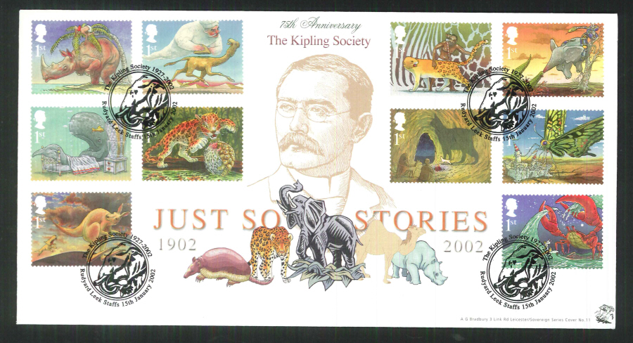 2002 Bradbury ( Sovereign No 11 )The Just So Stories Postmark: Rudyard, Elephant, Special Handstamp