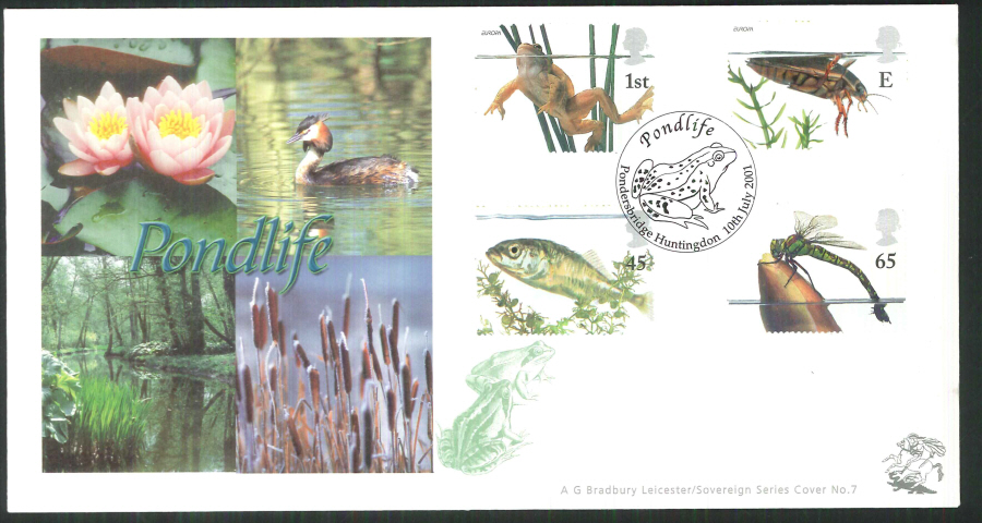 2001 Bradbury ( Sovereign No 7 )Pondlife Postmark: Pondersbridge Special Handstamp