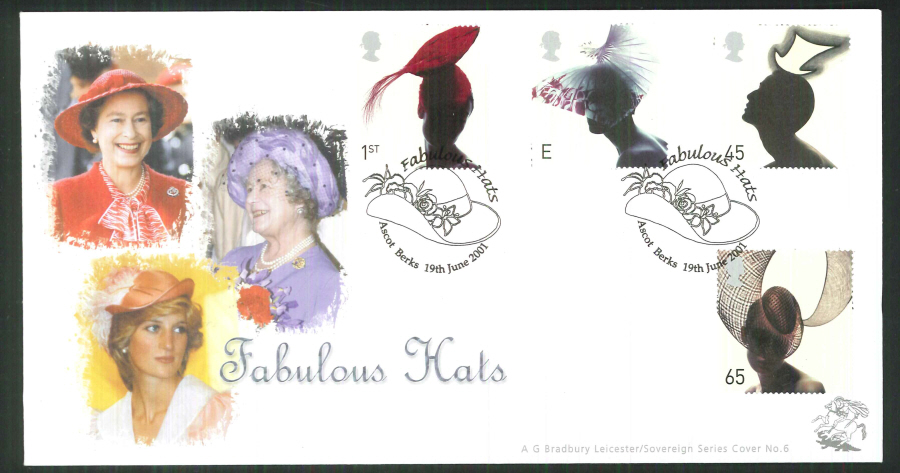 2001 Bradbury ( Sovereign No 6 ) Fabulous Hats Postmark: Ascot Special Handstamp