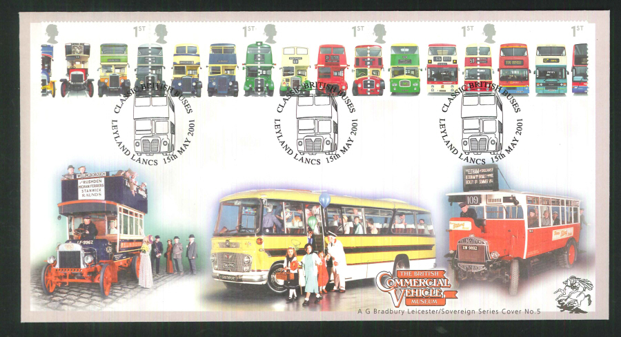 2001 Bradbury ( Sovereign No 5 ) Double Decker Buses Postmark: Leyland Special Handstamp