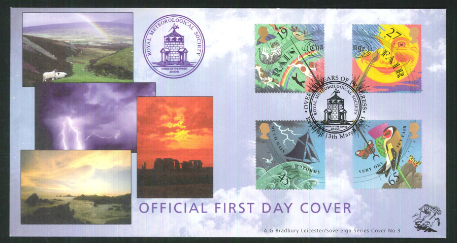 2001 Bradbury ( Sovereign No 3 ) The WeatherPostmark: Reading Special Handstamp