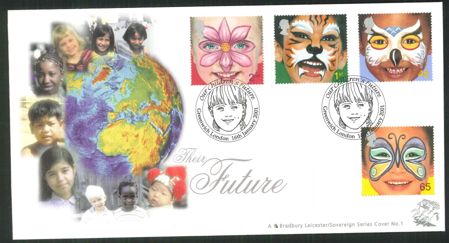 2001 Bradbury ( Sovereign No 1 ) The Future Postmark:Greenwich Special Handstamp