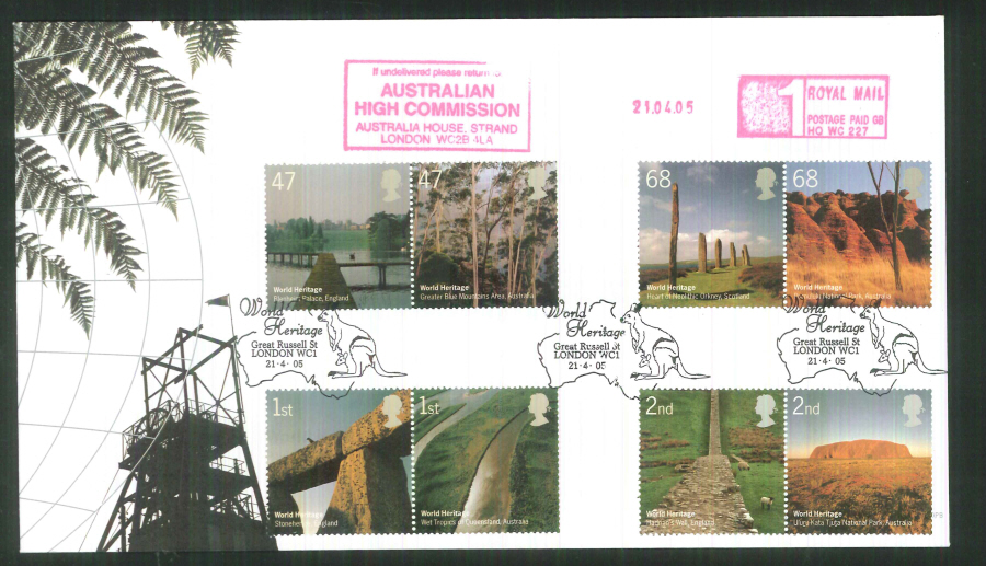 2005 World Heritage F D C Meter Mark Australian High Commission + handstamp