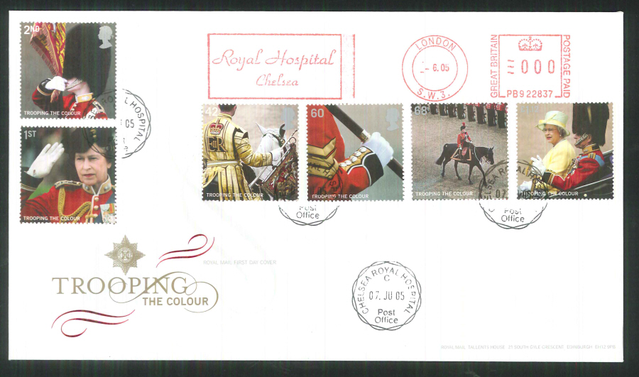 2005 Trooping of the Colour set F D C Meter Mark Royal Hospital Chelsea + C D S