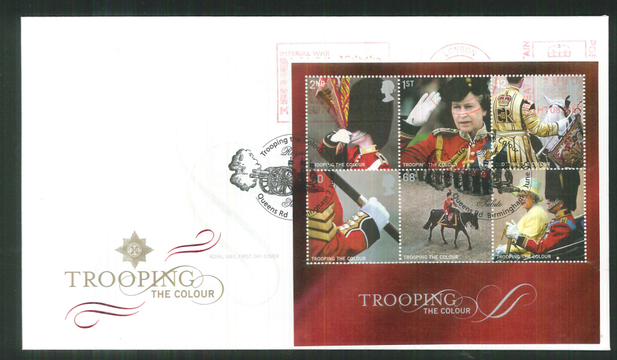 2005 Trooping of the Colour Mini Sheet F D C Meter Mark Royal Hospital Chelsea + handstamp