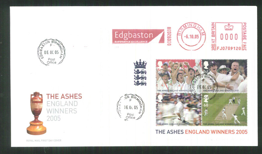 2005 The Ashes Mini Sheet F D C Meter Mark Edgbaston C C + C D S