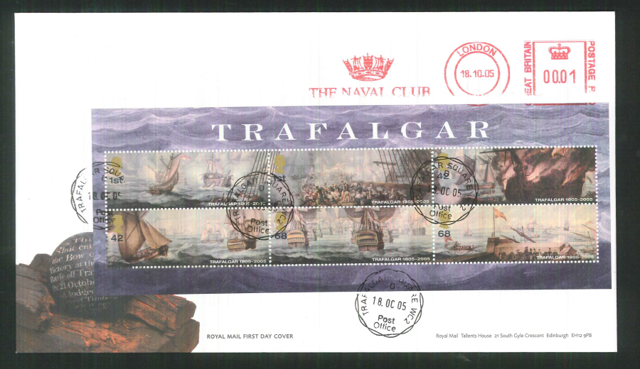 2005 Trafalgar Mini Sheet F D C Meter Mark Naval Club + C D S