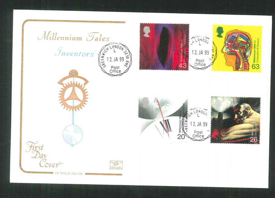 1999 Cotswold Millennium Tales Inventors FDC Greenwich C D S Postmark