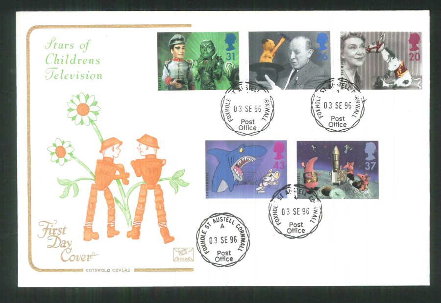 1996 Cotswold Childrens T V FDC Foxhole St Austell C D S Postmark