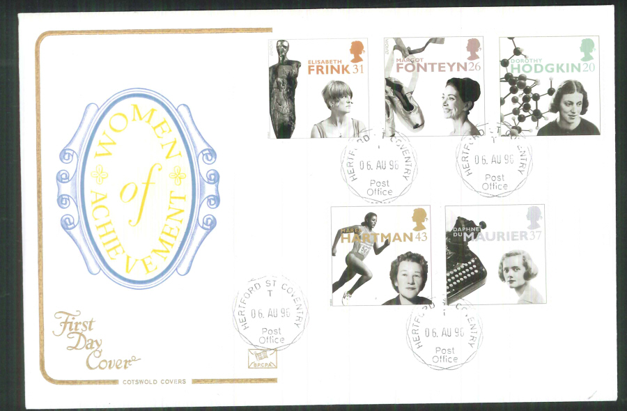 1996 Cotswold Women of Achievement FDC Hertford St Coventry C D S Postmark