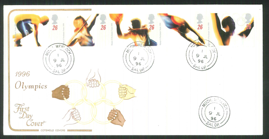 1996 Cotswold Olympics FDC Much Wenlock C D S Postmark