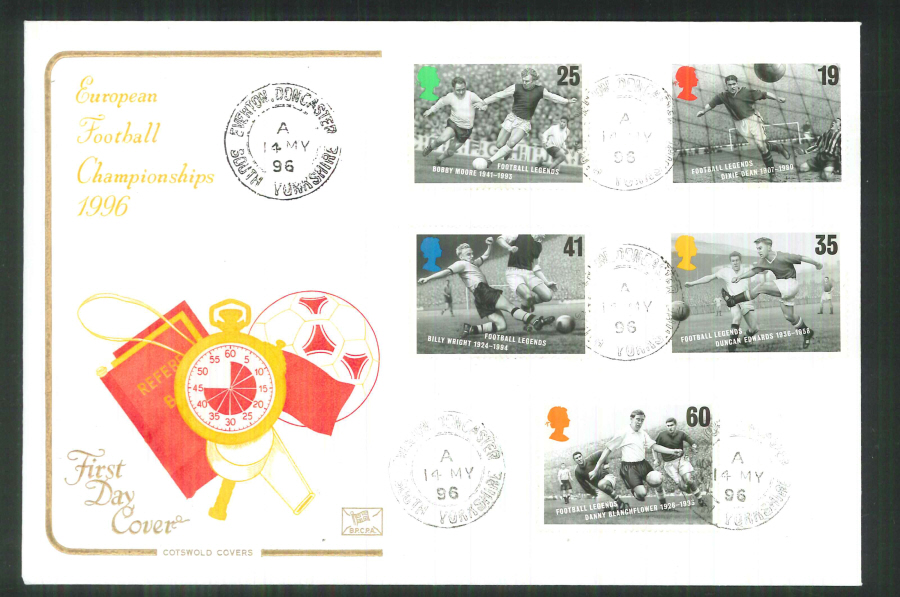 1996 Cotswold Football Legends FDC Everton,Doncaster C D S Postmark