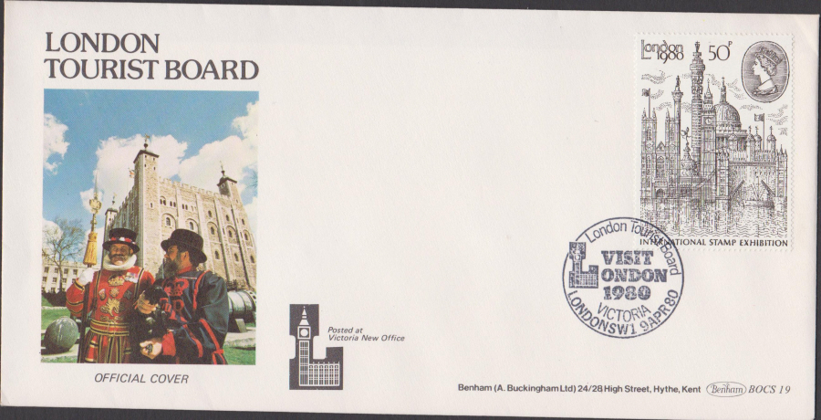 1980 Benham FDC London1980 Stamp Ex. Visit London Victoria Postmark