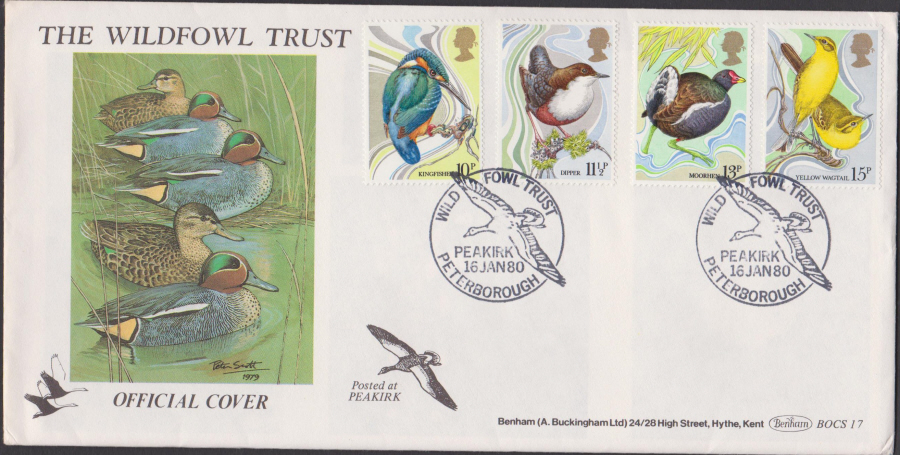 1980 Benham FDC British Birds Peakirk Peterborough Postmark