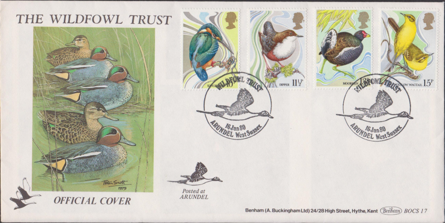 1980 Benham FDC British Birds Arundel West Sussex Postmark