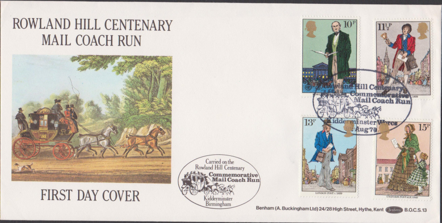 1979 Benham FDC Rowland Hill Set BOCS13 Mail Coach Run KidderminsterPostmark