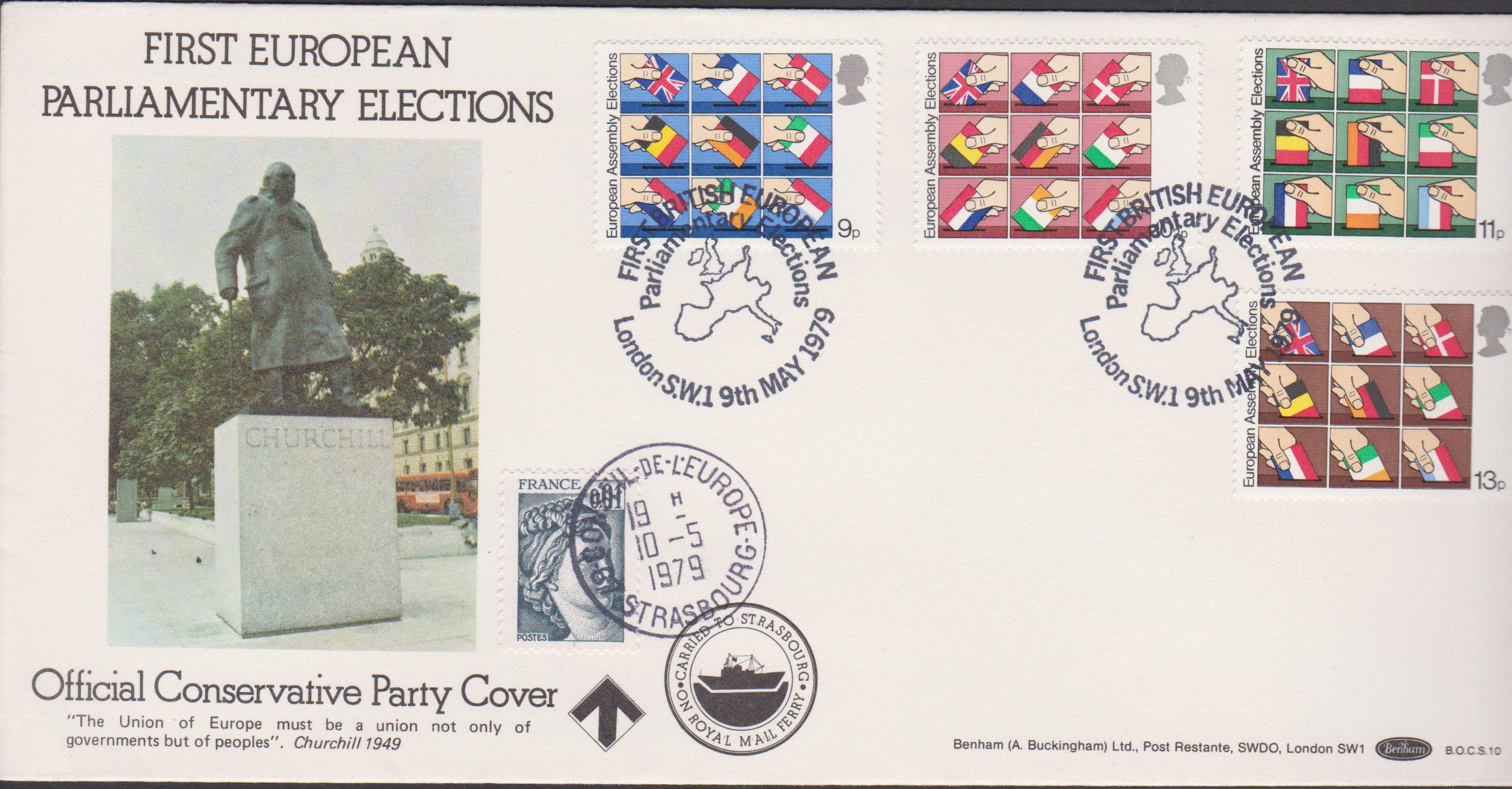 1979 Benham FDC EEC Elections BOCS10 Dual French London Postmark