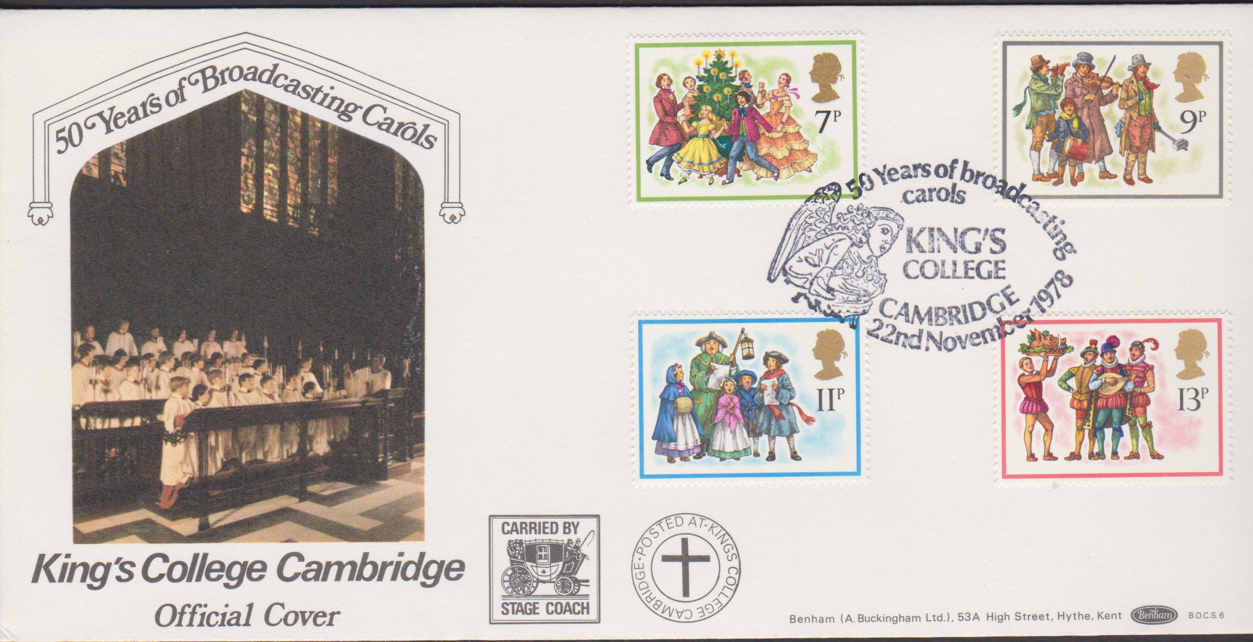 1978 Benham FDC Christmas BOCS 6 Kings College Cambridge Postmark