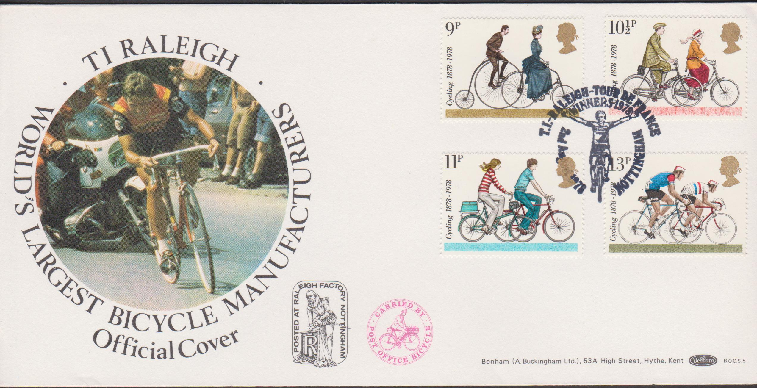 1978 Benham FDC Cycling BOCS 5 T I Raleigh Tour de France Postmark