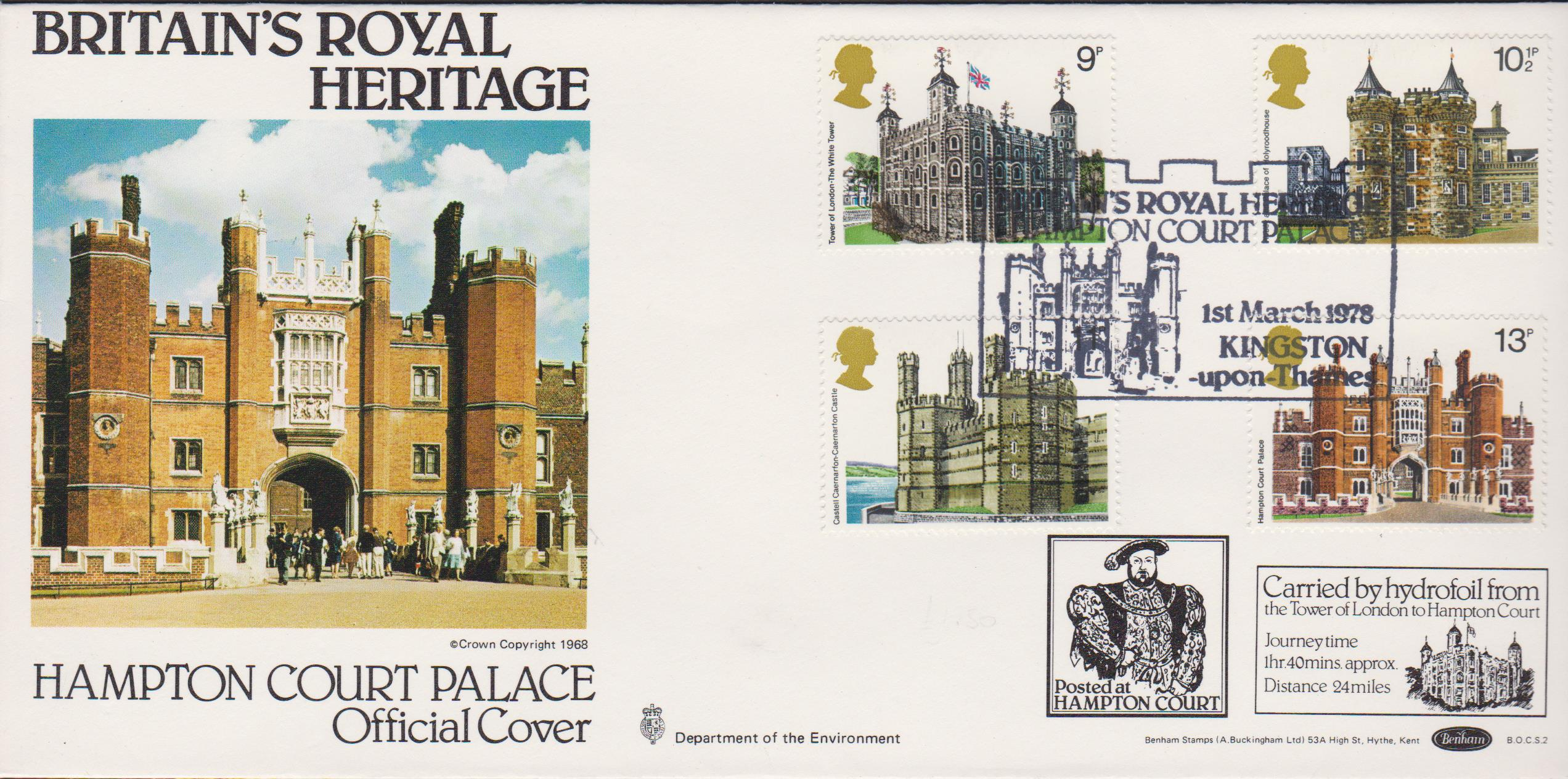 1978 Benham FDC Historic Buildings BOCS 2 Hampton Court Palace Postmark