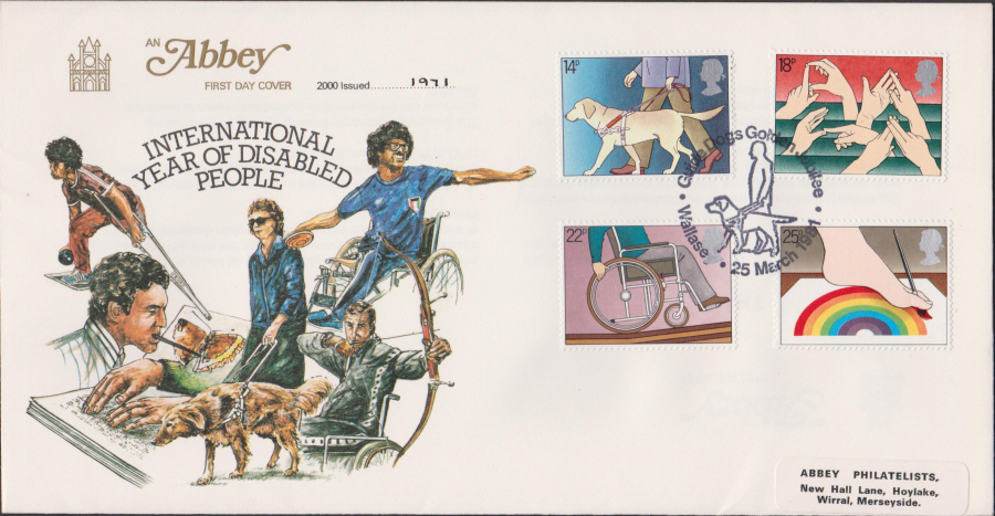 1981 Abbey FDC Year of Disabled Guide Dogs Wallasey Postmark