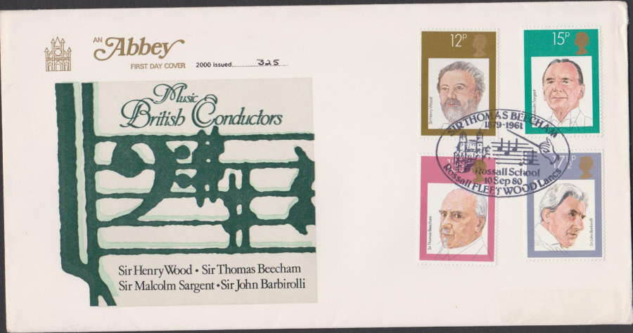 1980 Abbey FDC British Conductors Thomas Beecham Postmark