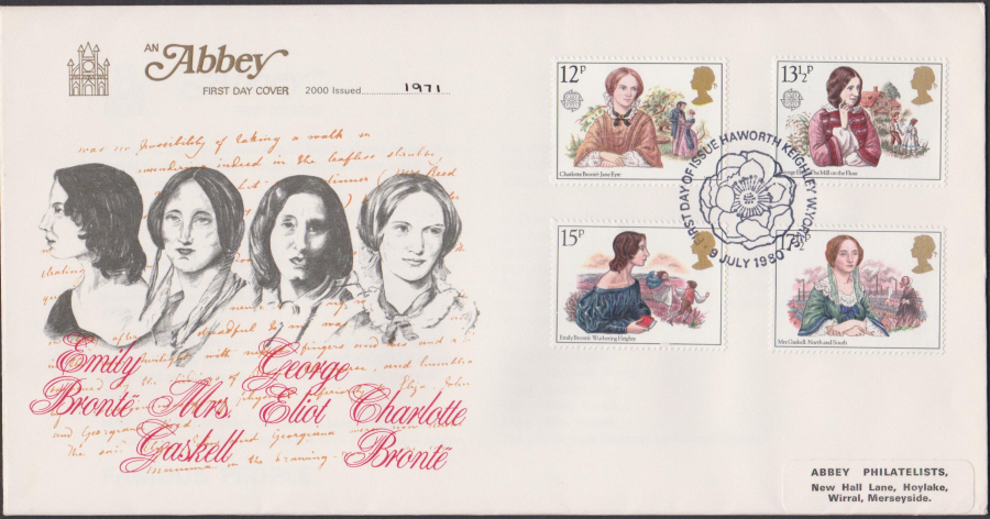 1980 Abbey FDC Famous People FDI Haworth Postmark