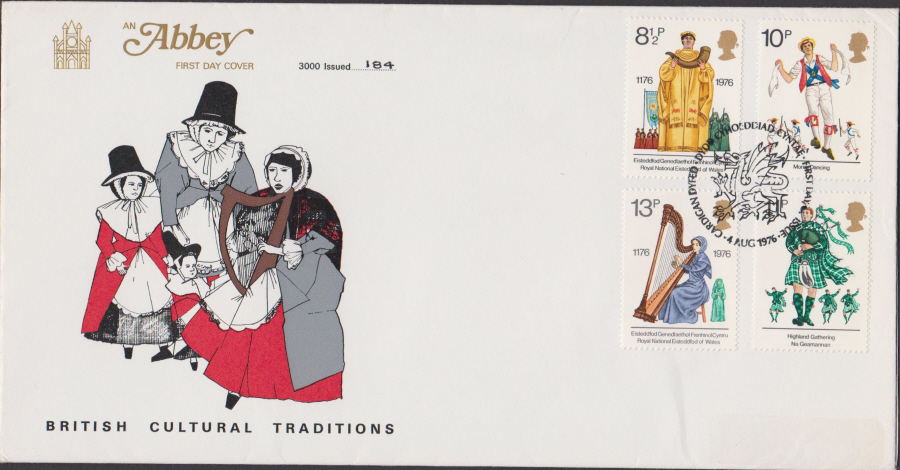 1976 Abbey FDC Culture F D I Cardigan Postmark